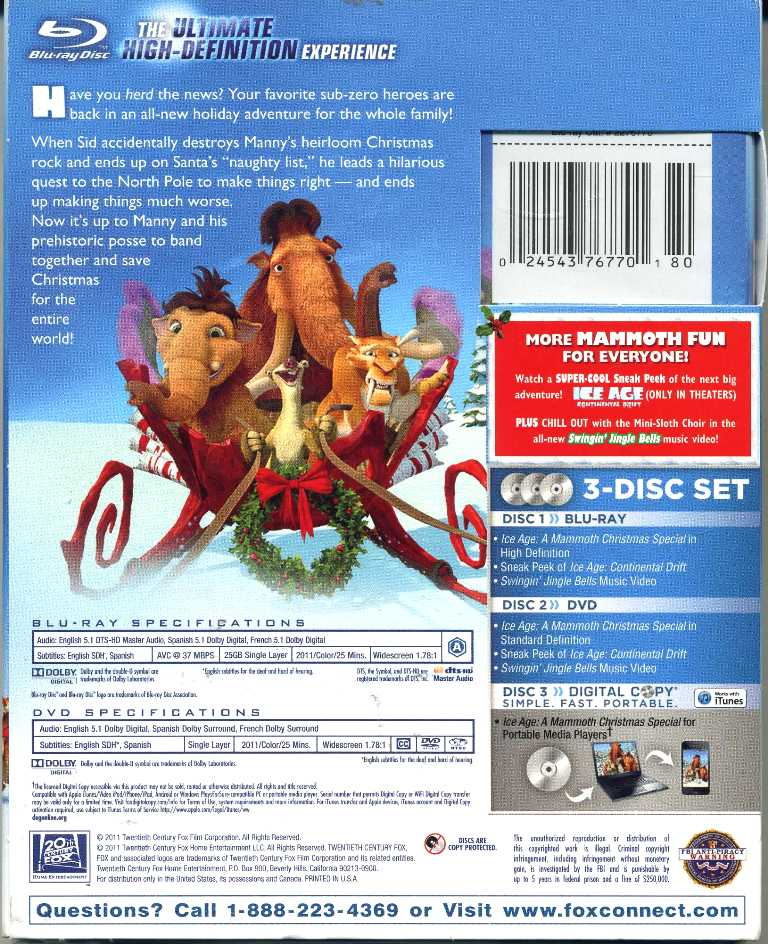 ice age a mammoth christmas special blu ray nib - Ice Age Mammoth Christmas